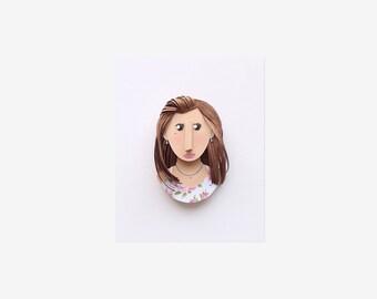 "Custom Headshot Paper Portrait. 3.5"" x 4"" Personalized Profile Portrait Avatar."