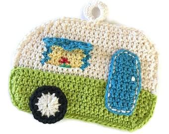 Camper Potholder,RV Pot Holder,Crochet Trivet,Glamping,Green Travel Trailer, Airstream,Shasta,Kitchen Decor,Housewarming,Shower Gift for Her