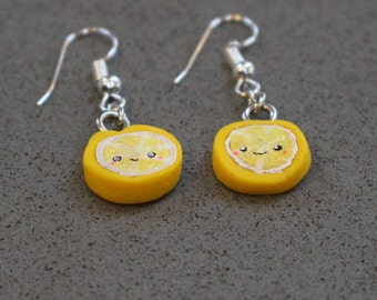 handmade earrings, polymer clay, lemons,limes, kawaii