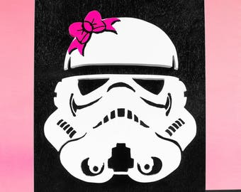 """Star Wars Stormtrooper """"StormtroopHer"""" with Bow Wood Cutout"""