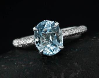 Blue Aquamarine Under Halo Engagement Ring - 3 Row Diamonds on Band -