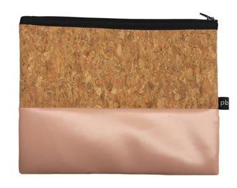 Pb_pochette Large, antique pink and cork leather clutches, handmade, hand bag, glove holder, tricks