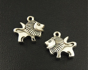 20pcs Antique Silver Lion Charms Pendant A1674