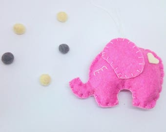 Pink Elephant ornament nursery decor for girl's room decoration accessories for Christmas Baby shower for her for him