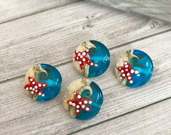 2+ pcs Blue  and ivory sea Handmade Glass Bead with starfish on both sides.