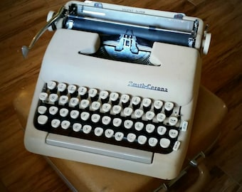 Smith Corona Silent Super Typewriter with Travel Case, camel or tan color, portable 1950s, midcentury office decor