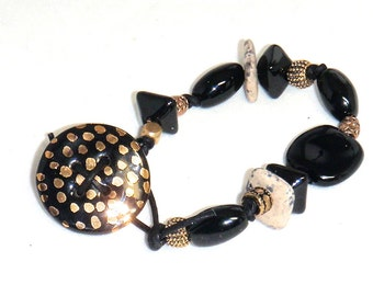 Black and Gold Kazuri Bracelet