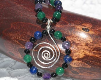 "24"" Amethyst, Chrysoprase, Lapiz Lazuli, and Onyx Necklace"