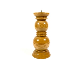 Wooden candle holder, Wooden candlestick, Vintage wooden home decor