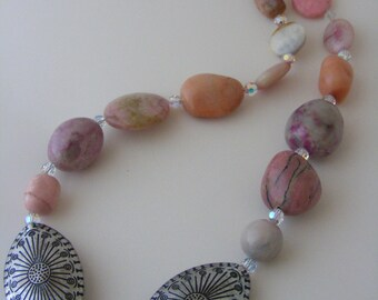 Multi Gemstone Necklace with Swarovski Crystals