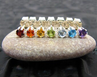 Mismatch earring, mismatch stud earrings, mismatched studs with topaz, garnet, citrine, peridot 3mm