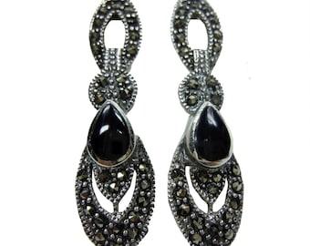Art Nouveau drop earrings with marcasite