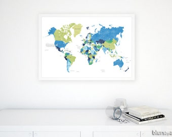 Boys pinboard etsy 30x20 world map with countries travel pinboard map lime green navy blue gumiabroncs Image collections