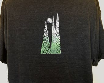 Trees Tshirt-Black Mens Tshirt Nature Inspired in Sizes XS to XXL, Great Gift for Nature lover