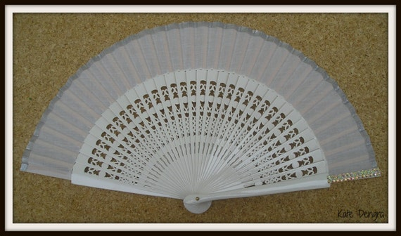 Pearlised Rhinestone Silver SIZE OPTIONS White Fret Folding Flamenco Spanish Hand Held Fan Bling   Ideal Fairytale Wedding Ball Prom