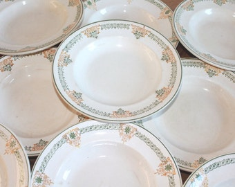 Antique White Ironstone, French Plates, Ironstone Plates, French Ironstone, French Transferware, Green Transferware, Faience,Pottery