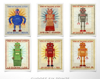 Kids Wall Art, Retro Robot Art Prints, Kids Room Decor, 6 Robot Prints, Boys Nursery Art, Boys Room, Robot Wall Art Kids Room, Kid Bedroom