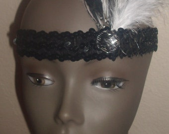 New black and white sequined 1920's charleston beaded flapper head piece hat costume c