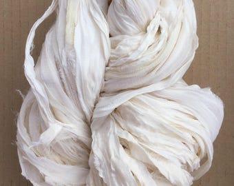 Sari Silk Chiffon Ribbon, Silk Ribbon, Silk Chiffon Ribbon, Pure Silk Ribbon, Undyed Sari Ribbon, Wide Silk Ribbon