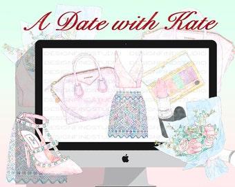 fashion clipart, fashion illustration, floral clipart, cosmetic watercolor clipart, watercolor bouquet, bridal clipart, planner stickers