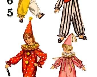 1965 Simplicity 6198 Size Med 8-10 Boys / Girls Clown Costume Clown Hat Clown Ruffle Clown Jacket Sewing Pattern Supply Boys Clown Raglan u