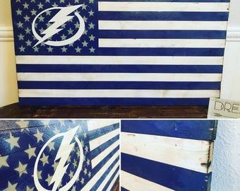 Tampa Bay Lightning Rustic Wooden Flag