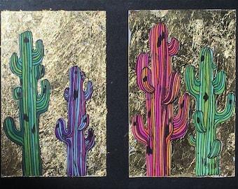 Saguaros on Gold