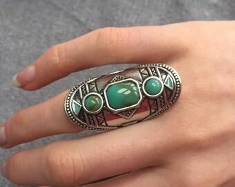 Silver Turquoise Boho Aztec Ring
