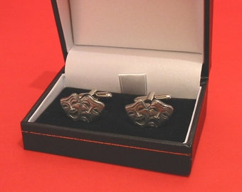 Comedy Tragedy Masks Design Pewter Cuff-links Gift Boxed Drama Theater Performing Arts Gift