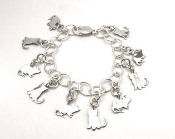 Kitten & Mouse Loaded Charm Bracelet Made from Silver Vintage American Dime Coins