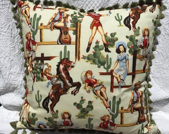Decorative Western Pillow Pinup Retro Rockabilly Vintage Western Cowgirls, Boots, Cactus, Guitars, and Horse Scene with Tassels and Beauties