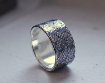 Sterling Silver Wide Band Ring - Patterned Wedding Ring - Mens Ring - Gift - Jewelry