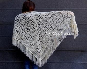 Spider Stitch Lace Shawl Crochet Pattern, Prayer Shawl Crochet Pattern, Instant PDF Download