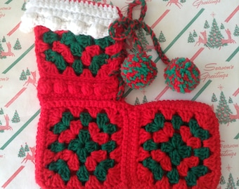 Vintage Handmade Crochet Stocking Red~Multi Pom-Poms~Small