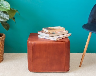 Brown Leather Moroccan Pouf.  PREMIUM QUALITY