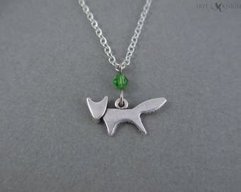 Small Fox Charm Necklace - Silver