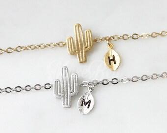 Cactus bracelet, Plant jewelry, Personalized bracelet, Cactus jewelry, Nature woodland jewelry, Forest jewelry, Initial friendship bracelet