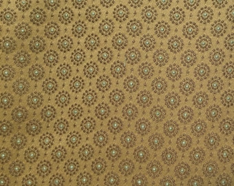 Brown Circles - Blue - Upholstery Fabric by the Yard  - Fast Shipping