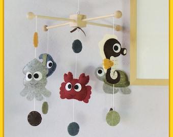Baby Crib Mobile, Nursery Mobile, Felt Nursery Decor, Hanging Mobile, Polka Dot Under the Sea Theme, Custom Mobile