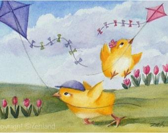 Animal Art Print  8x10 Baby Chicks Kite Flying Spring Decor Printed Wall Art by Janet Zeh Zehland