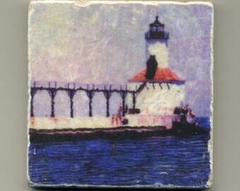 Michigan City Lighthouse in Indiana Original coaster