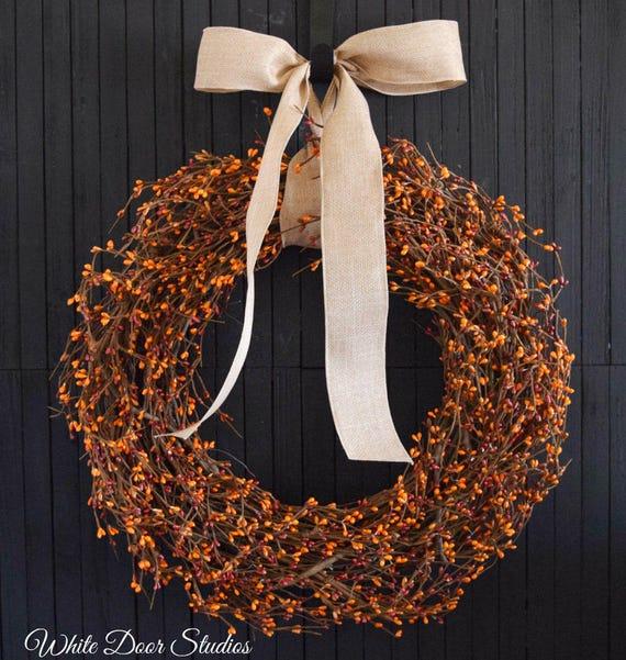 Orange and Red Pip Berry Front Door Wreath