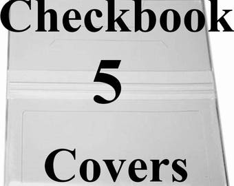 5 Clear Checkbook Covers Vinyl Checkbook Covers New Embroidery Covers