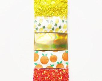 SUMMER FRUITS / pineapple / orange/ gold holograph