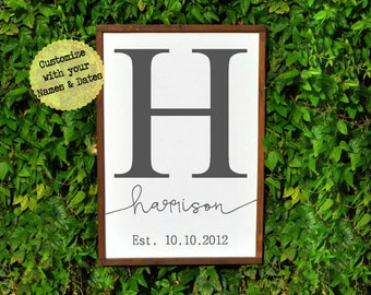 Family Established Sign, Name Initial Sign, Housewarming Gift, Custom Family Name Sign, Personalized Wedding Gift, Farmhouse Wood Sign Gift