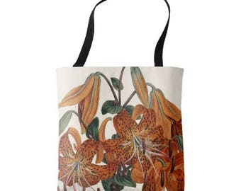 Tiger Lily Tote, Curtis Botanical, Spring Design