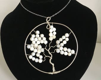 Tree of life pendant made with shell beads