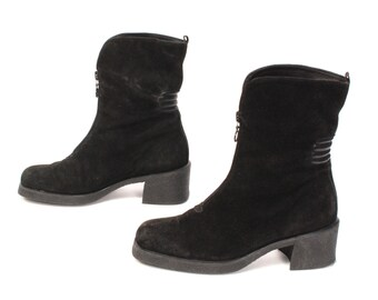 size 8 PLATFORM black suede leather 80s 90s GRUNGE CHELSEA zip up ankle boots