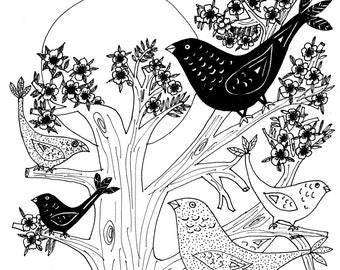 Birdies in the Trees Print from Original Drawing by Artist Victoria O'Neill