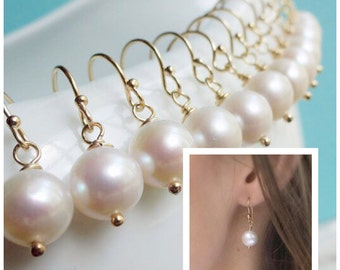 Pearl earrings, bridesmaid gift, bridal jewelry, wedding jewelry, gold or silver, simple pearl drop earrings, otis b